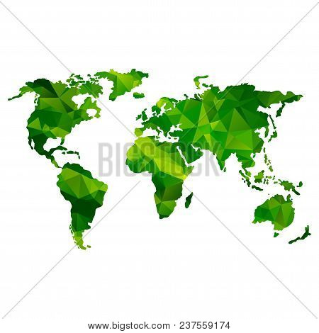 Global World Map. Green Color. Low Poly Vector Objects Isolated On White Background. Objects Isolate