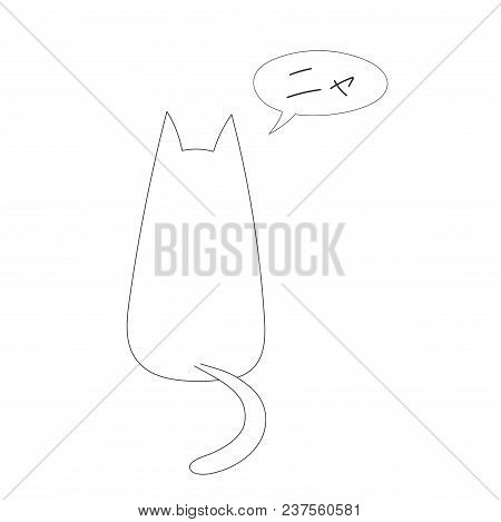 Hand Drawn Vector Illustration With Simple Outline Of A Cat From Behind With Speech Bubble Saying Ny