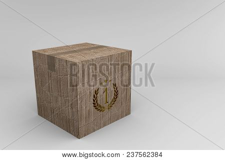 3d Illustration Of A Cardboard Box Isolated On White Background