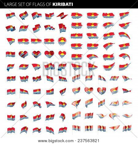 Kiribati Flag, Vector Illustration On A White Background. Big Set