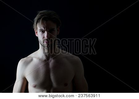 Bodycare Model With Bare Muscular Chest, Muscles, Sport. Bodycare For Mens Health, Copy Space