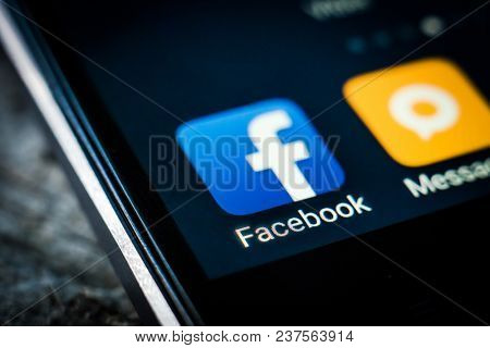 Kharkiv, Ukraine - 23 April, 2018: Facebook application icon on a smartphone screen