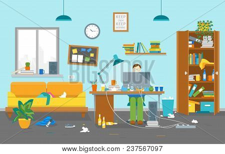 Cartoon Man at Workplace Dirty Card Poster Creative Workspace in House Clutter Concept Element Flat Design Style. Vector illustration poster