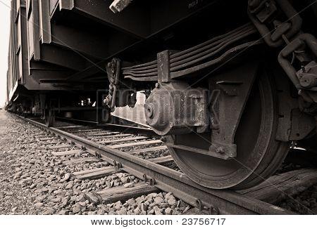 Train wheel and rails