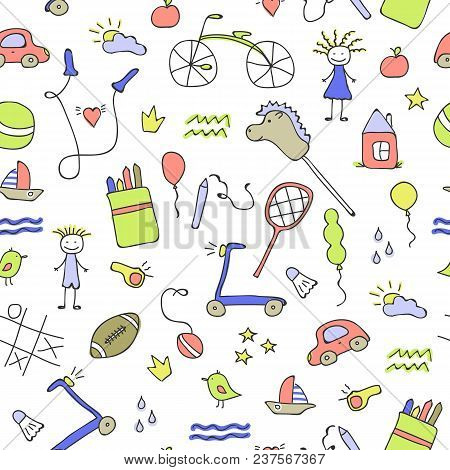 Seamless Pattern For Little Boys And Girls. Sketch Style. Hand Drawn Children Drawings. Doodle Child