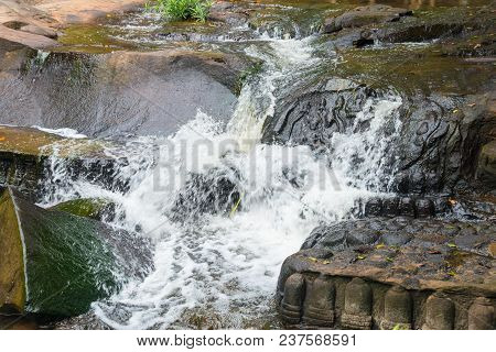 Kbal Spean The Mystery Waterfall On Kulen Mountains Range Of The Ancient Khmer Empire In Siem Reap P