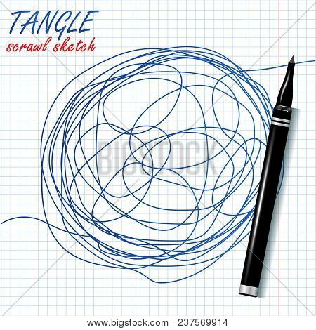 Tangle Scrawl Sketch Vector. Drawing Circle. Tangled Chaotic Doodle. Mind, Brainwork. Spherical Abst