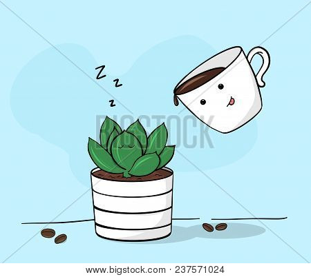 Creative Conceptual Still Life Illustration. Succulent With Coffee Cup.