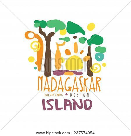Madagaskar Island Logo Template Original Design, Exotic Summer Holiday Badge, Label For A Travel Age