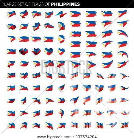 Philippines Flag, Vector Illustration On A White Background. Big Set