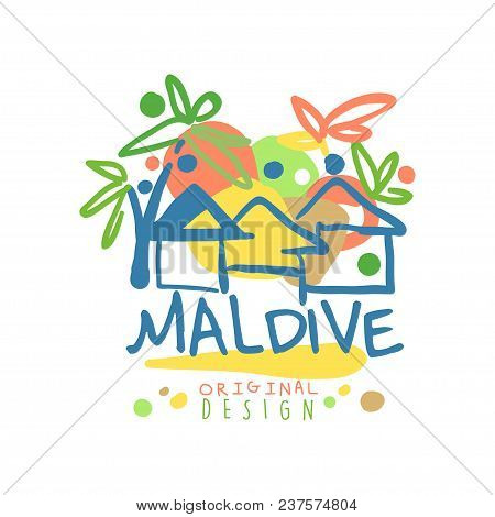 Maldive Island Logo Template Original Design, Exotic Summer Holiday Badge, Label For A Travel Agency