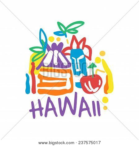 Hawaii Island Logo Template Original Design, Exotic Summer Holiday Badge, Label For A Travel Agency,