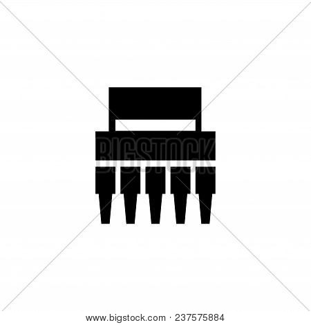 Electronic Chip. Flat Vector Icon. Simple Black Symbol On White Background