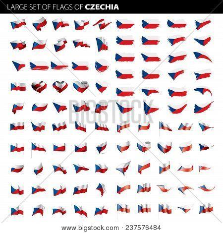 Czechia Flag, Vector Illustration On A White Background. Big Set