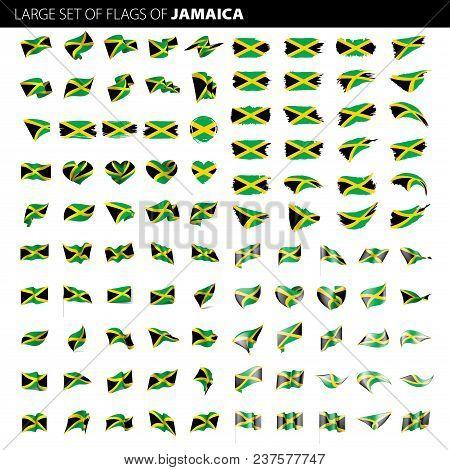 Jamaica Flag, Vector Illustration On A White Background. Big Set