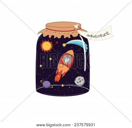 Hand Drawn Vector Illustration Of A Cute Funny Deer Flying In A Rocket In Outer Space, In A Glass Ja