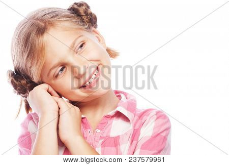 Portrait of a happy little girl over white background