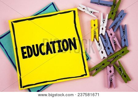 Text Sign Showing Education. Conceptual Photo Teaching Of Students By Implementation Of Latest Techn