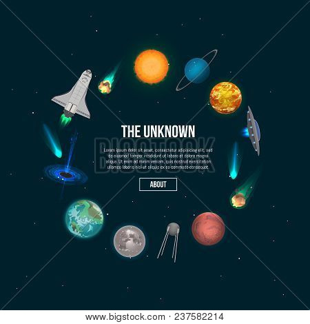 The Unknown Universe Banner. Astronomical Scientific Space Research, Planets Discovery And Colonizat