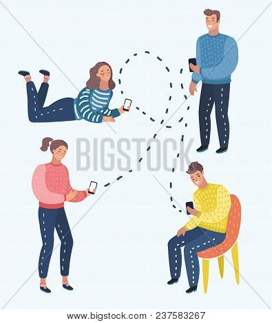 Vector Cartoon Illustration Of Mobile Messenger Concept. Social Media. A Group Of Young People With