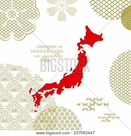 Traditional Japan Background With Country Map On Abstract Golden Elements. Traditional Asian Lotus S