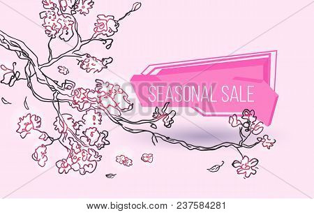 Seasonal Sale Geometric Label With Autumn Tree Branch Sketch. Special Season Price, Retail Marketing