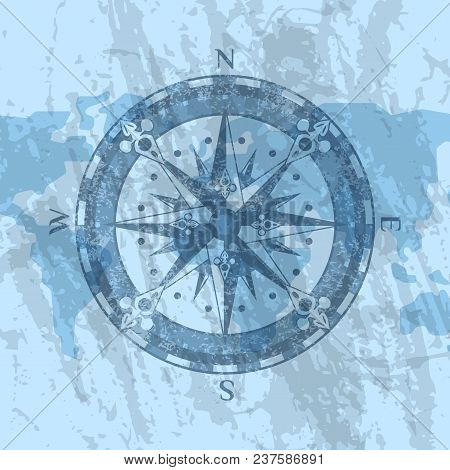 Compass Rose On Grunge Background Of World Map. Geography Research, Worldwide Traveling And Explorat