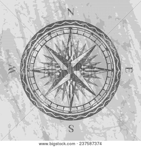 Compass Rose On Grunge Grey Background. Geography Research, Worldwide Traveling And Exploration. Nau