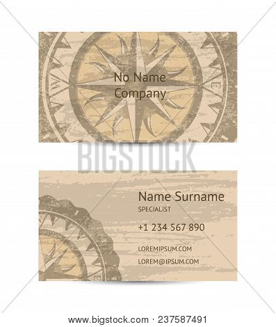 Travel Agency Business Card Layout With Compass Rose On Grunge Background. Worldwide Traveling And E