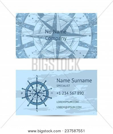 Nautical Company Business Card Layout With Windrose On Blue Grunge Background. Worldwide Traveling A