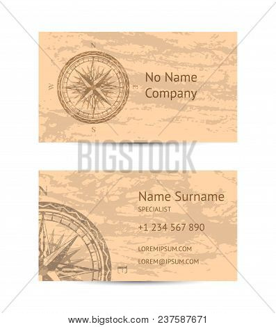 Sailing Tour Business Card Layout With Windrose On Blue Grunge Background. Worldwide Traveling And E