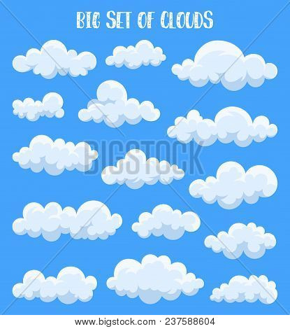 Set Of Isolated Cumulus Clouds In Sky. Air At Summer Or Spring, Heaven Cloudscape With Fluffy Vapor,