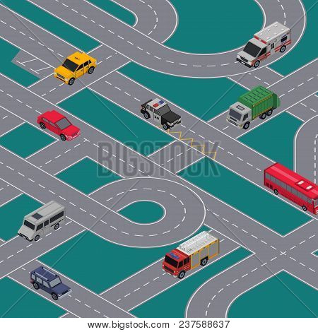 City traffic junction banner with cars in highway. Urban transportation infrastructure, crossing roads construction with various cars. Isometric view of speedway with transport vector illustration poster