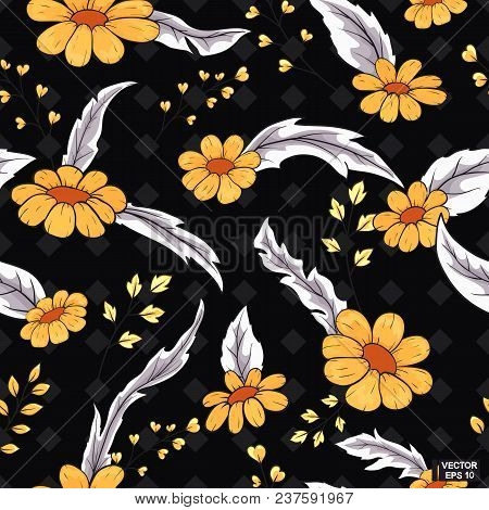Vector Image. Seamless Floral Background. Brightly Yellow Daisy Flowers With Grey Leaves On A Black