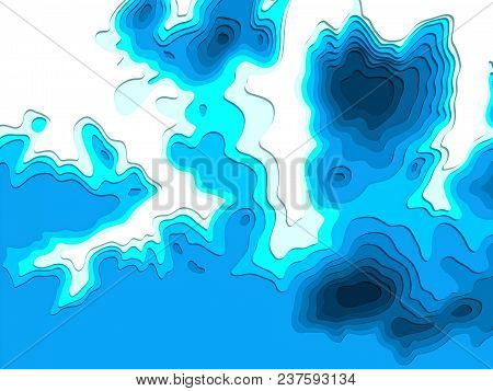 3d Model Of Topographic Map. 3d Rendering, Abstract Topographic Background. Sea Depth. The Concept O