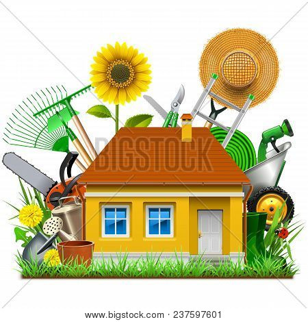 Vector Garden House Isolated On White Background