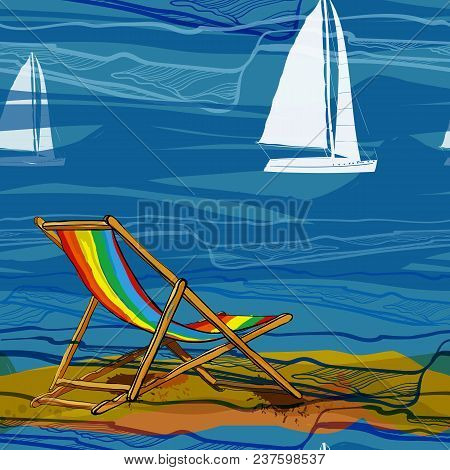 Vector Illustration Of Seamless Pattern With Lounge On Brink And Sailing-ship On Water. Drawing Wall