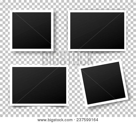 Set Of Photo Frame. Retro Photo Frame Template For Your Photos. White Plastic Border On A Transparen