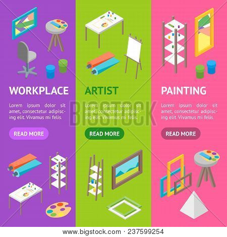 Artist Workplace Interior With Furniture Banner Vecrtical Set Isometric View Professional Community,