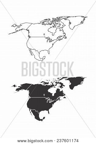 Simplified Maps Of The North America With Countries Boundaries. Black And White Outlines.