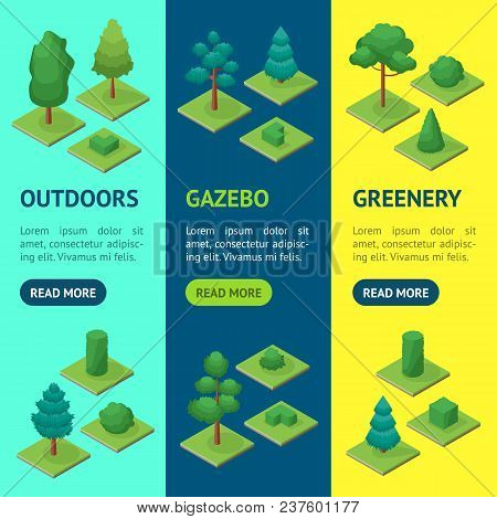 Green Trees And Shrubs Public Park Or Square Banner Vecrtical Set 3d Isometric View. Vector Illustra