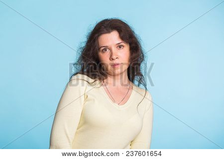 Sad And Resentful Woman Waiting For Excuses And Explanations And Is Reproachfully Looking Isolated O