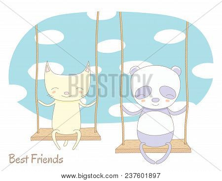 Hand Drawn Vector Illustration Of A Cute Cat And Panda, Sitting Together On A Swing, With Blue Sky A
