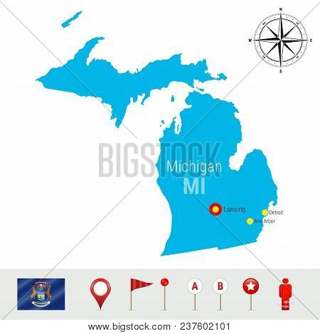 Michigan Vector Map Isolated On White Background. High Detailed Silhouette Of Michigan State. Vector