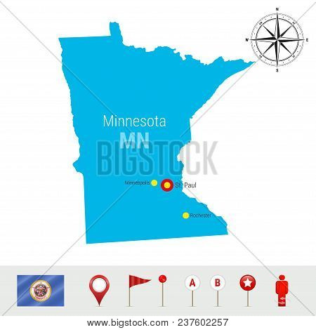 Minnesota Vector Map Isolated On White Background. High Detailed Silhouette Ofminnesota State. Vecto
