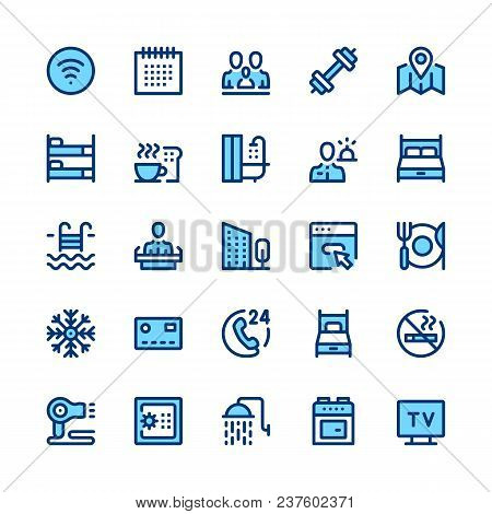 Hotel Services And Amenities Line Icons Set. Modern Graphic Design Concepts, Simple Symbols, Pictogr