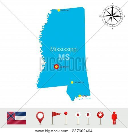 Mississippi Vector Map Isolated On White Background. Detailed Silhouette Of Mississippi State. Vecto