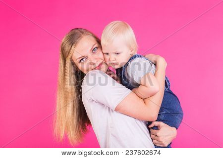 Mother With Daughter Happy Together Portrait Child, Family.