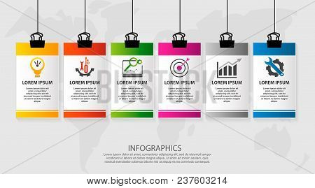 Modern Vector Illustration. Infographic Pattern On Suspended Sheet Of Paper. 3D Style With Six Steps