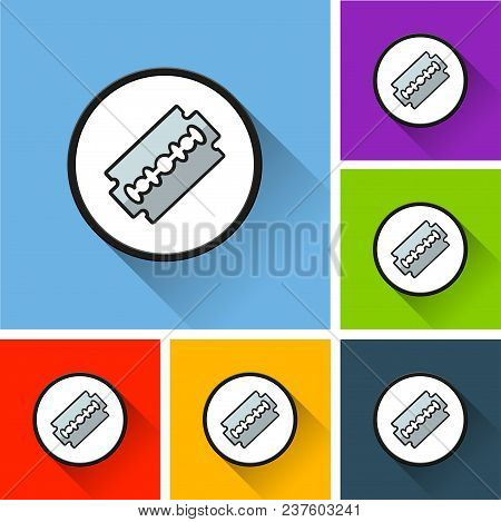 Illustration Of Razor Blade Icons With Long Shadow
